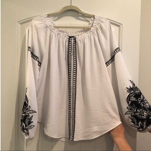 White/Black Embroidered Blouse